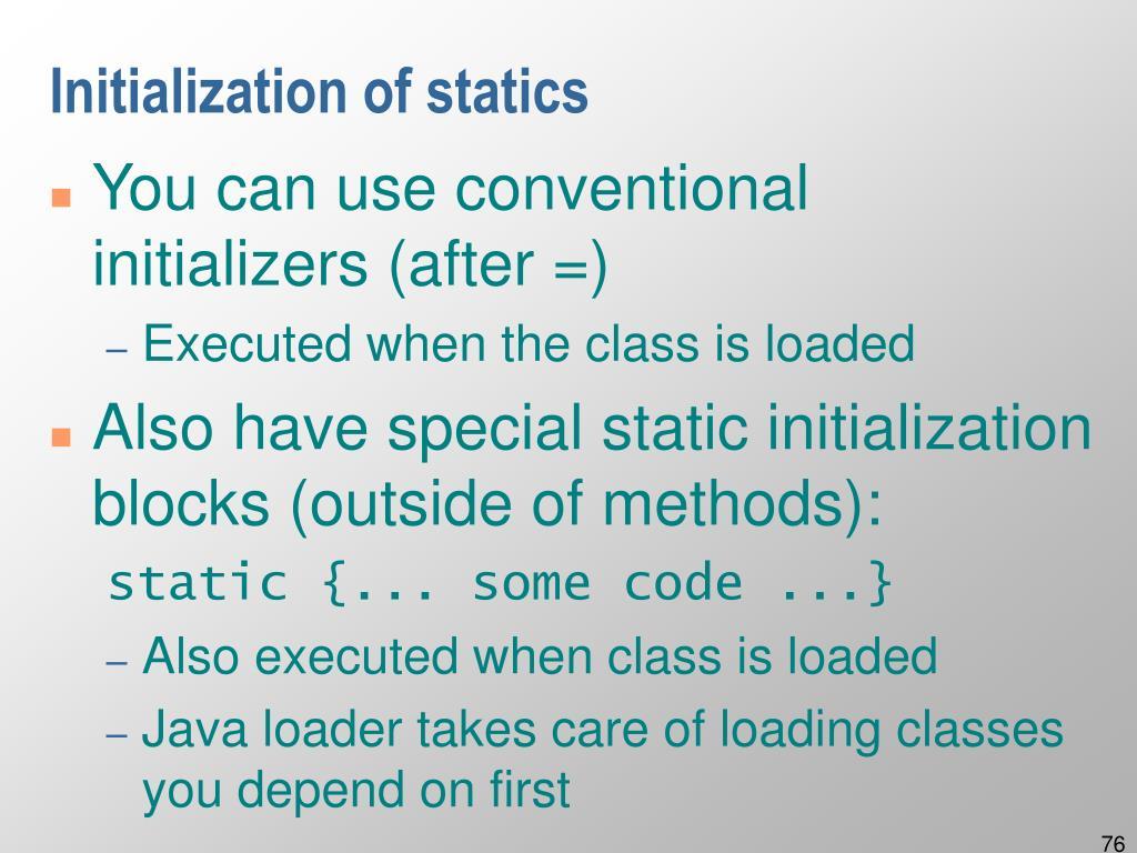 Initialization of statics