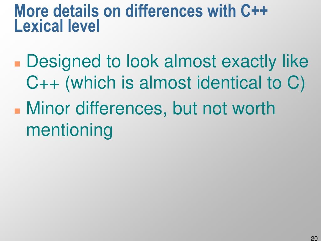 More details on differences with C++
