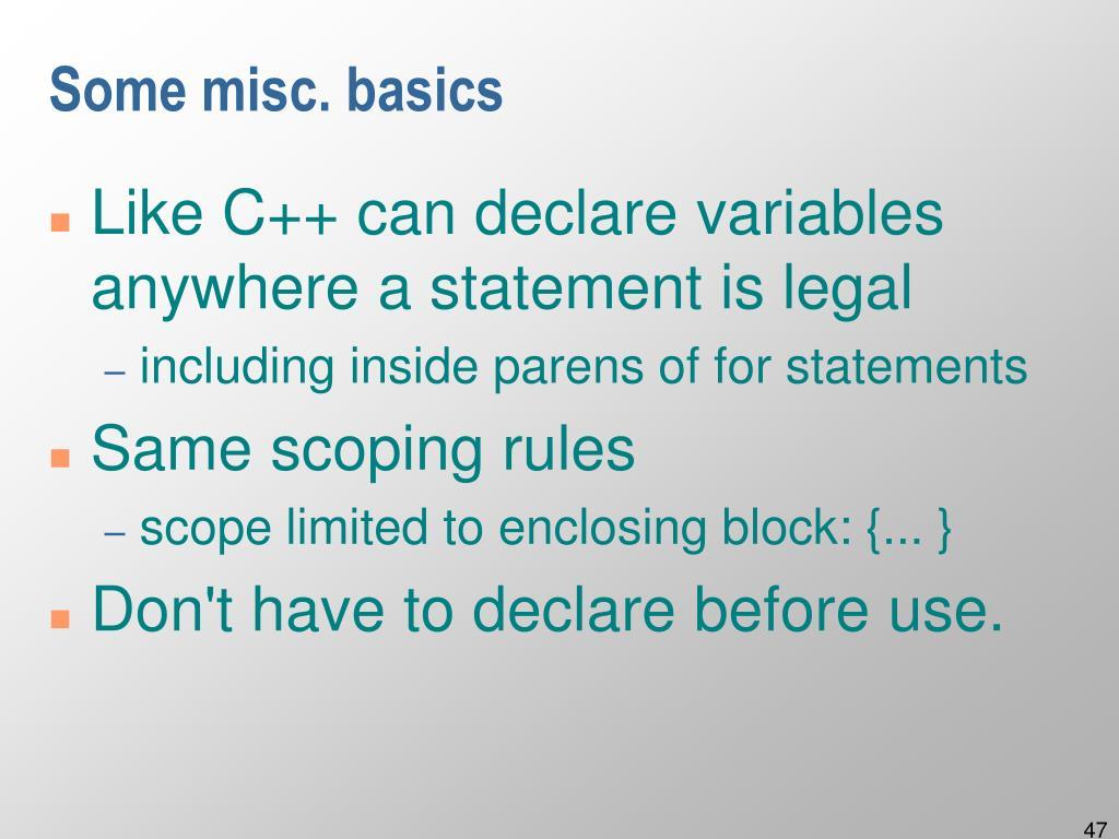 Some misc. basics