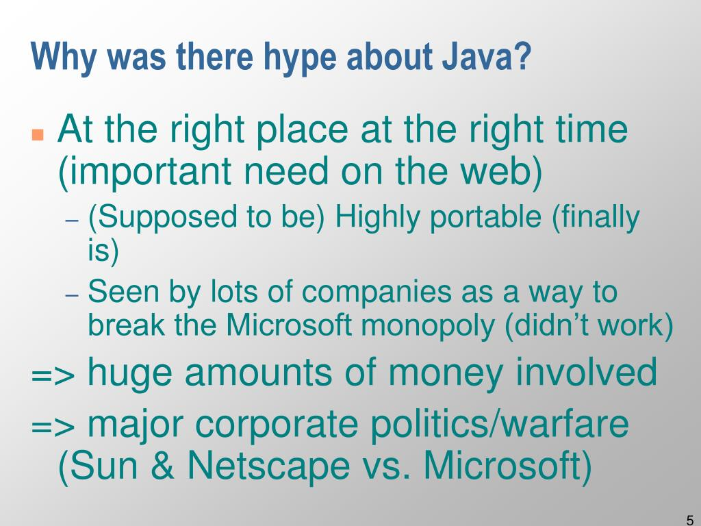 Why was there hype about Java?