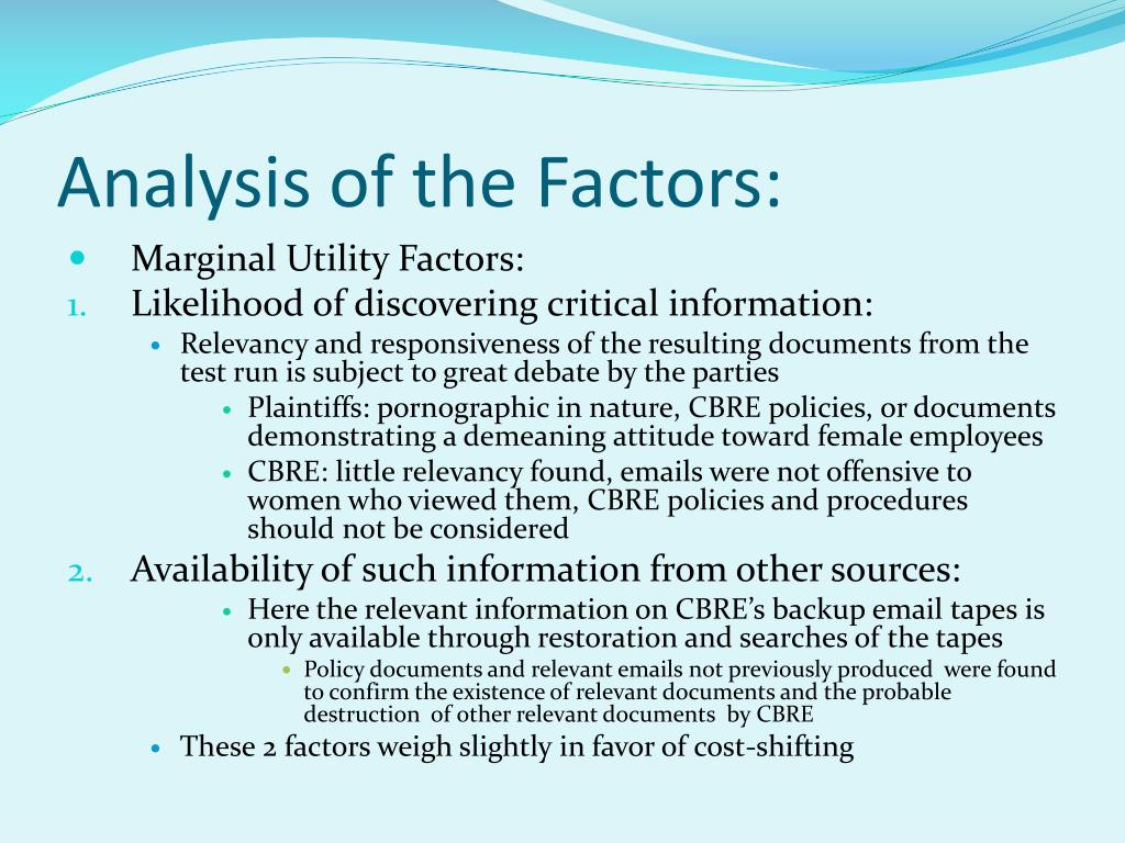 Analysis of the Factors: