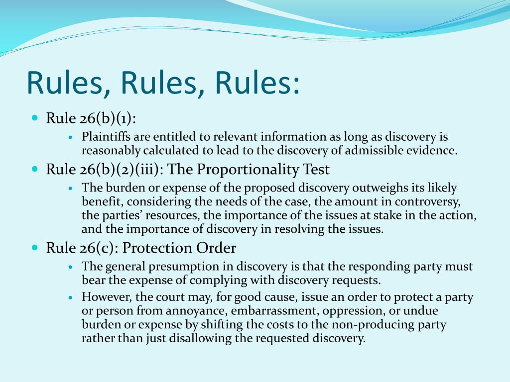Rules, Rules, Rules: