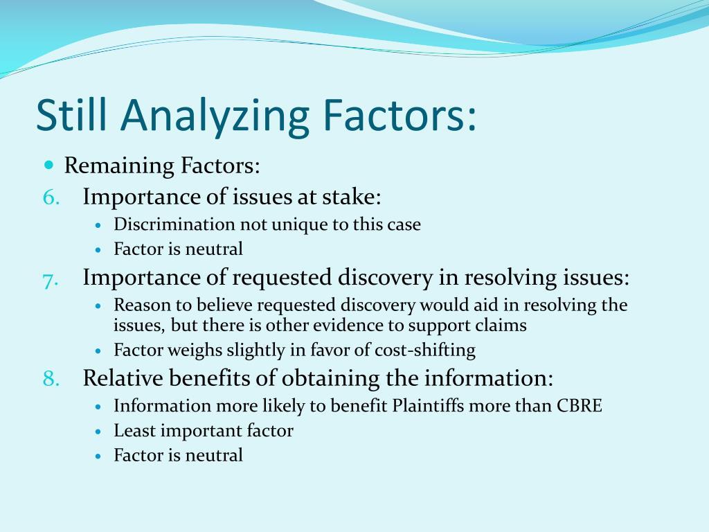 Still Analyzing Factors: