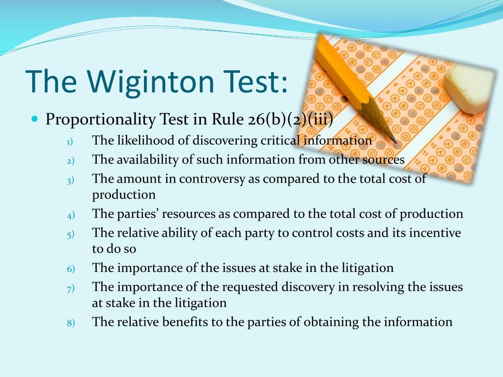 The Wiginton Test: