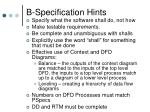 b specification hints