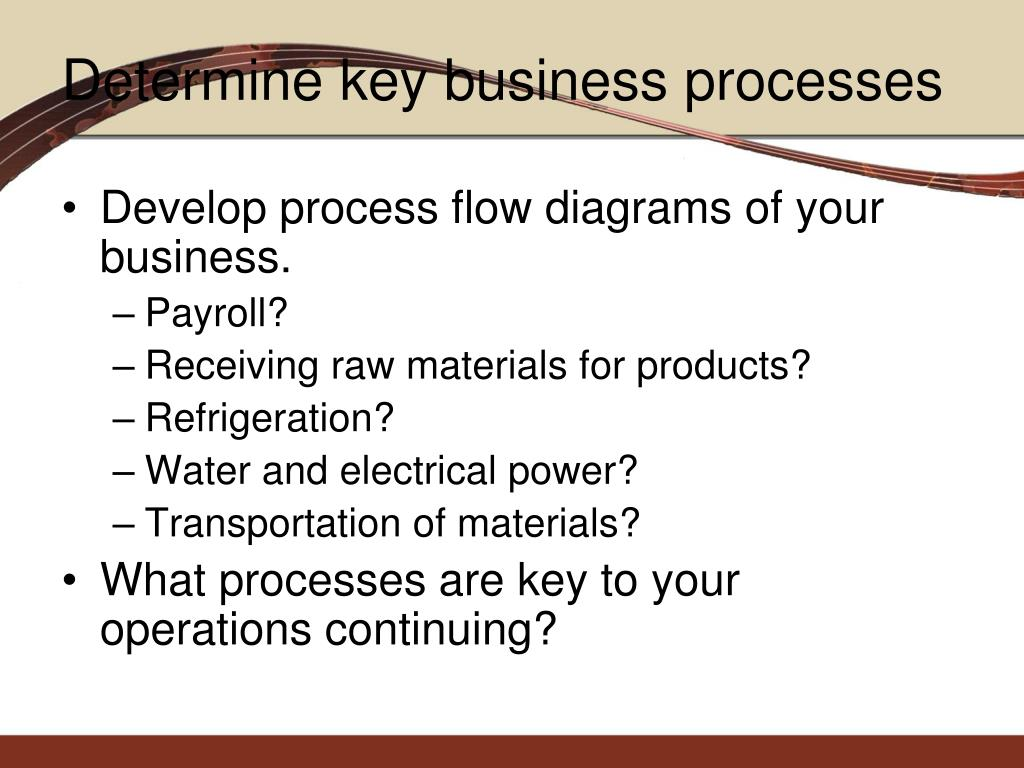 Develop process flow diagrams of your business.