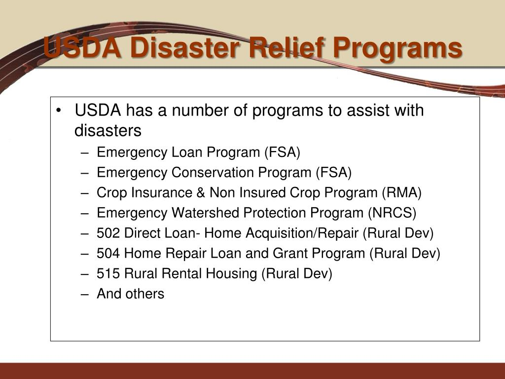 USDA Disaster Relief Programs