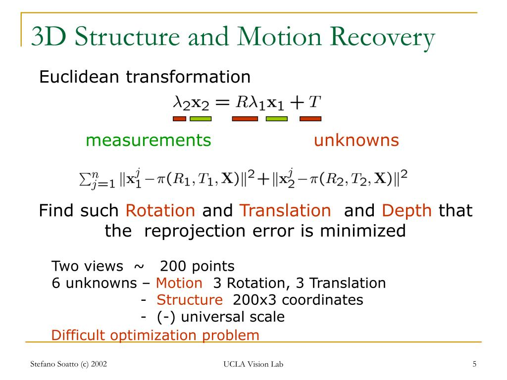 3D Structure and Motion Recovery
