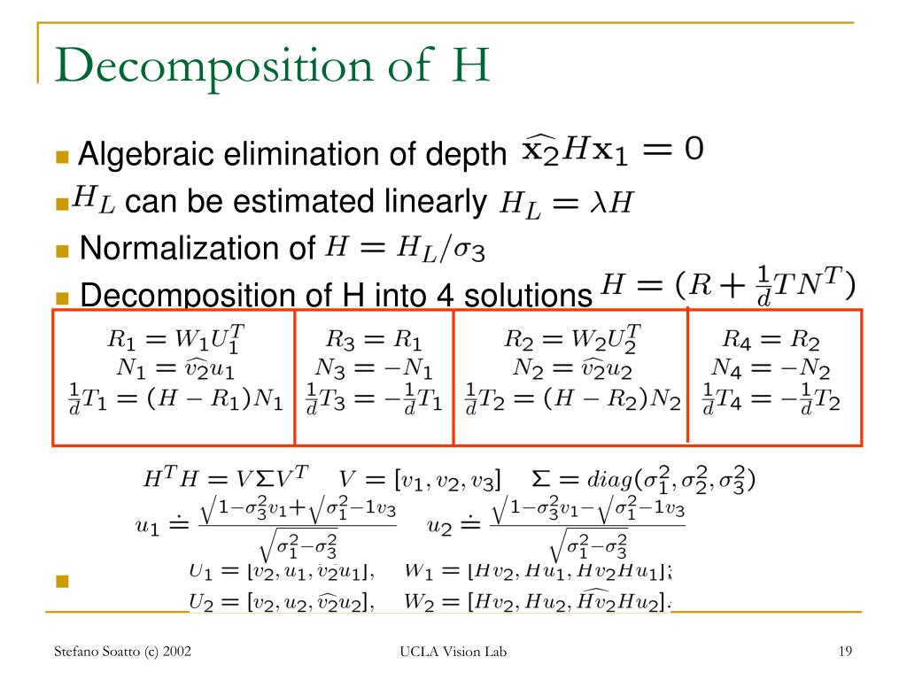 Decomposition of H