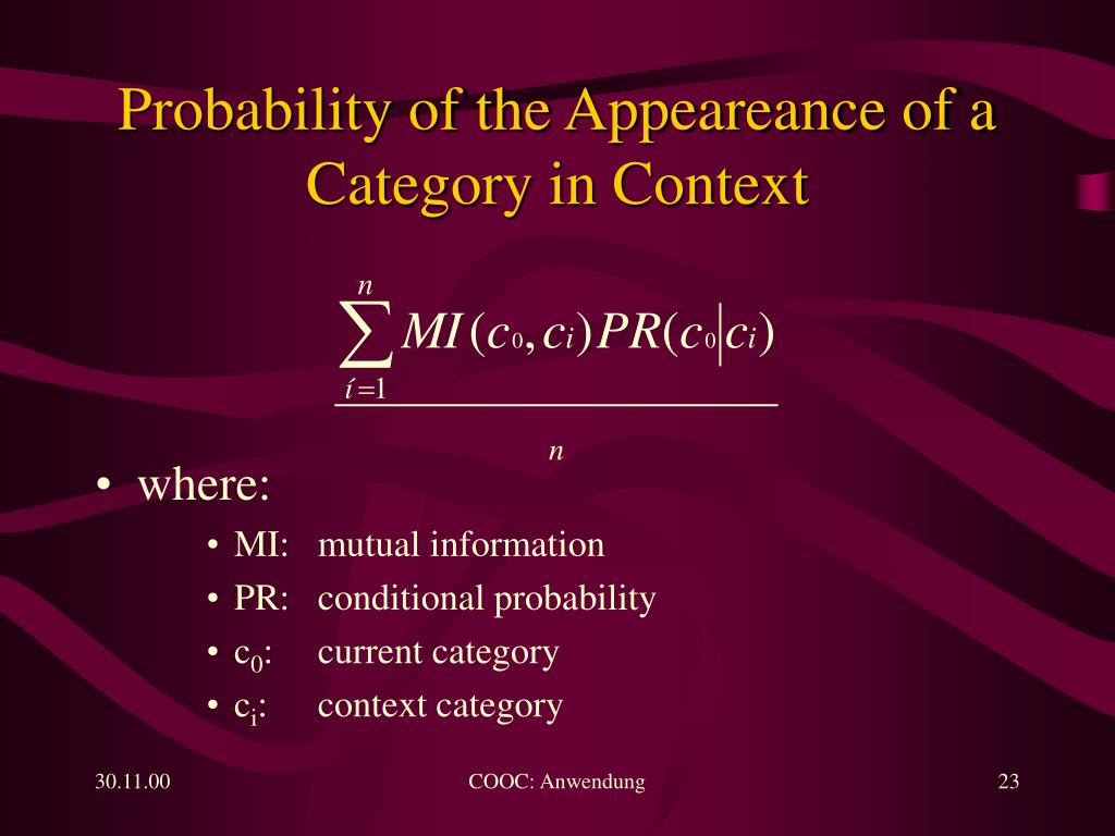 Probability of the Appeareance of a Category in Context
