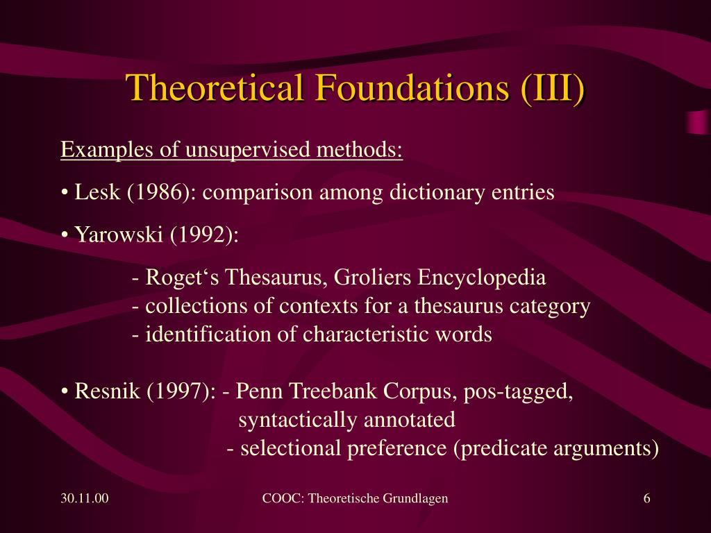 Theoretical Foundations (III)