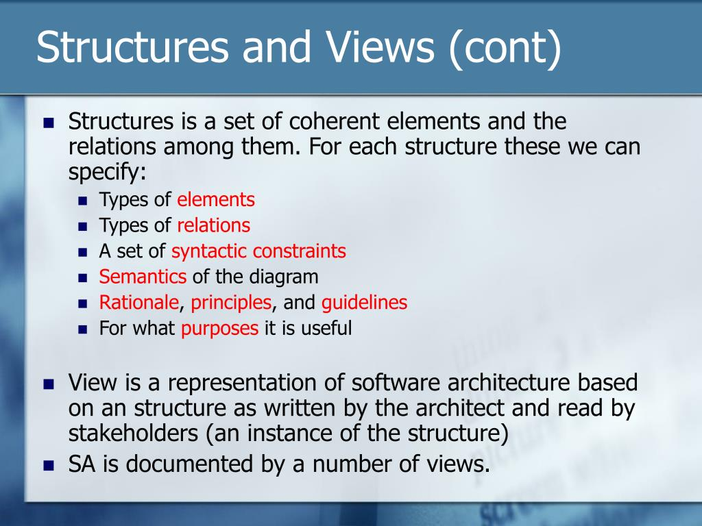 Structures and Views (cont)