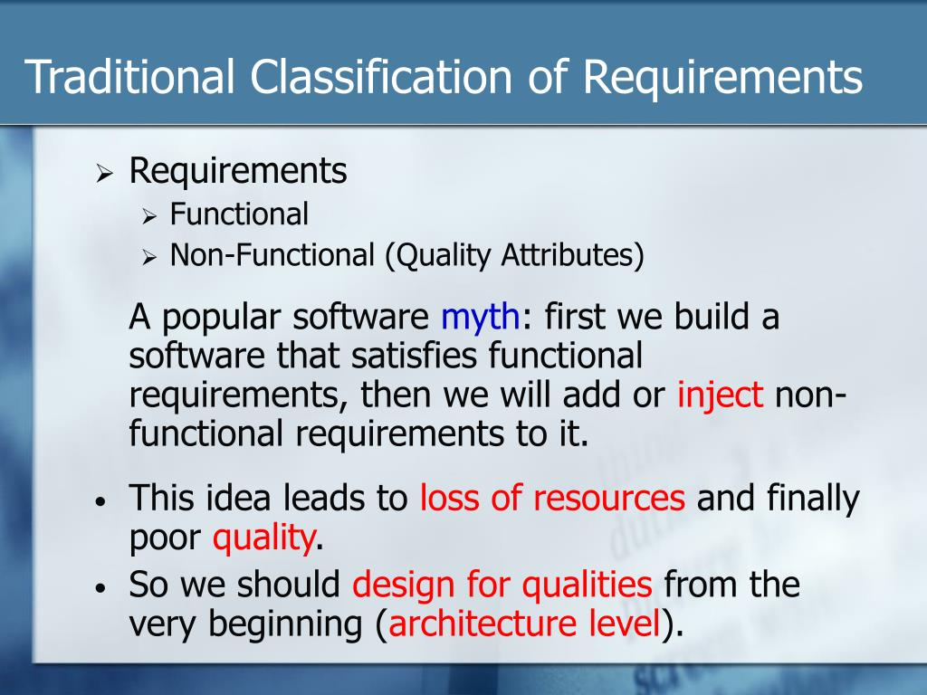 Traditional Classification of Requirements