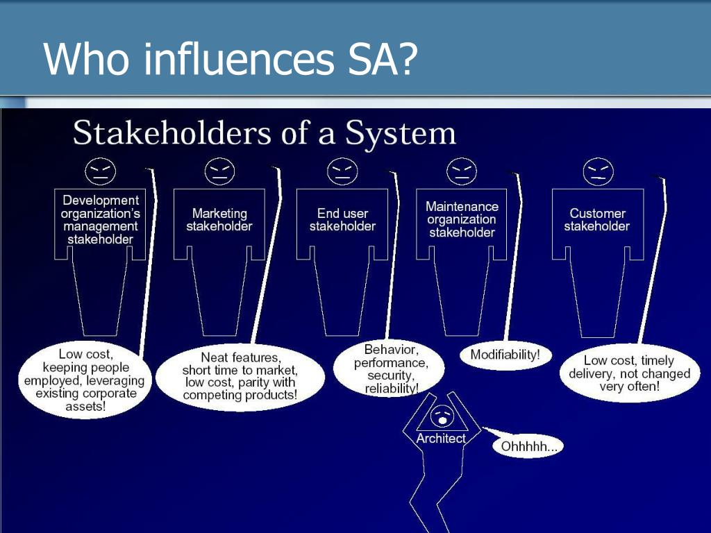Who influences SA?