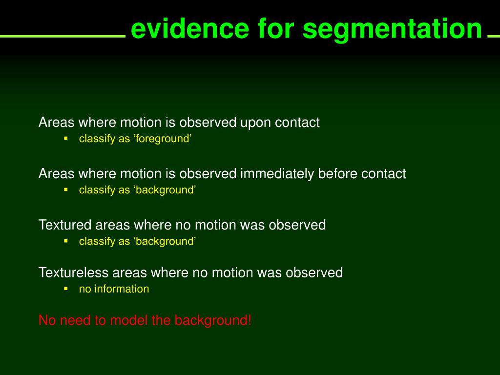 evidence for segmentation