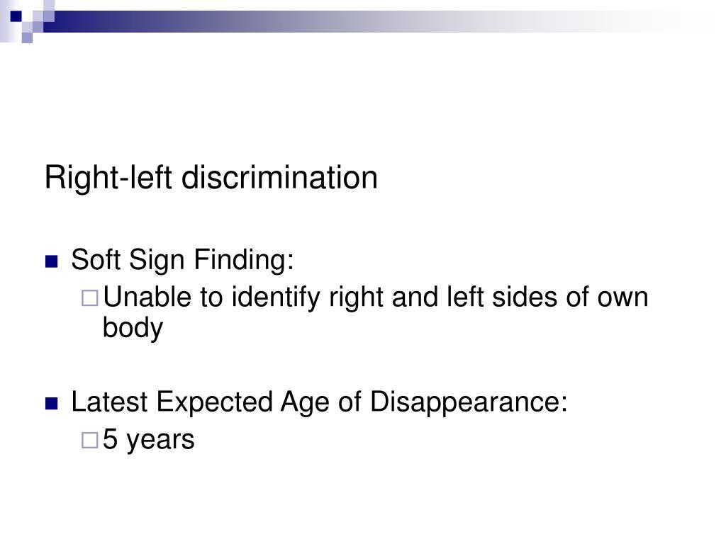 Right-left discrimination