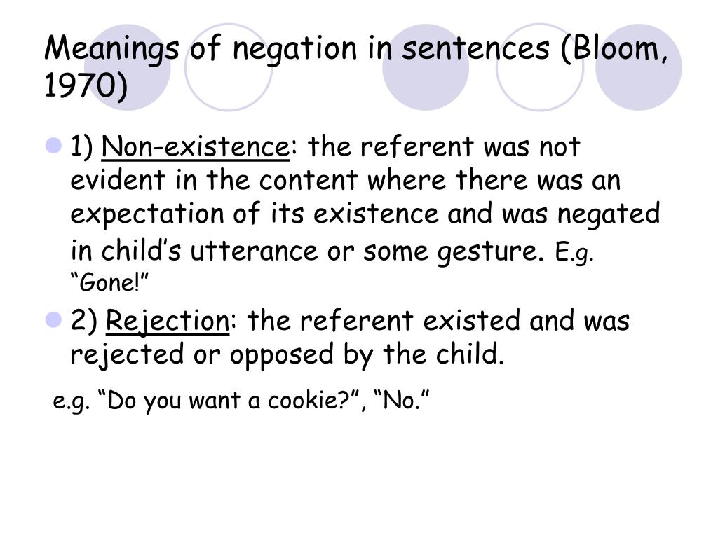 Meanings of negation in sentences (Bloom, 1970)