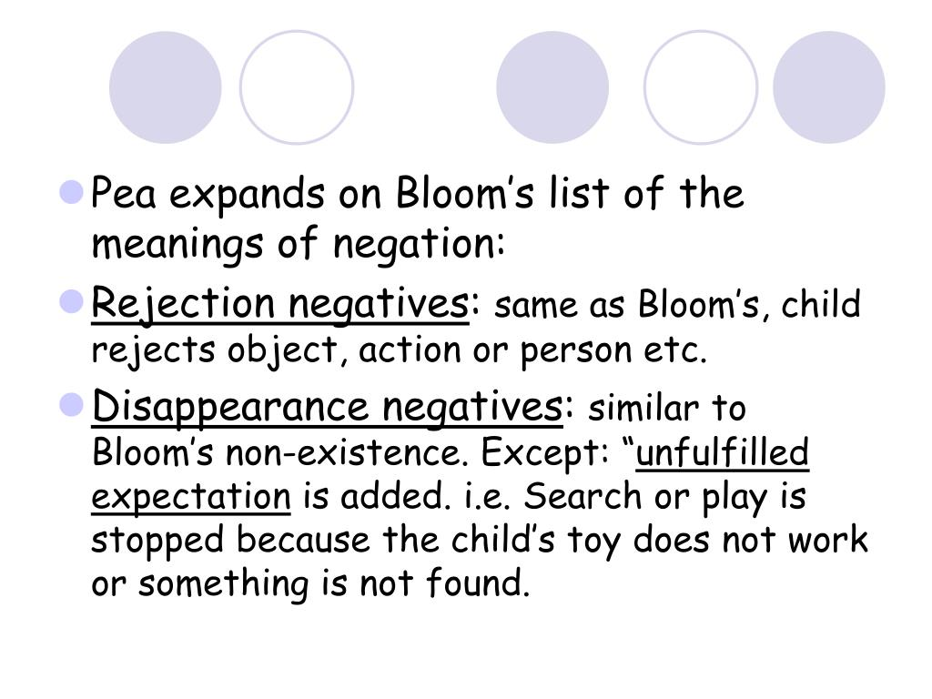 Pea expands on Bloom's list of the meanings of negation: