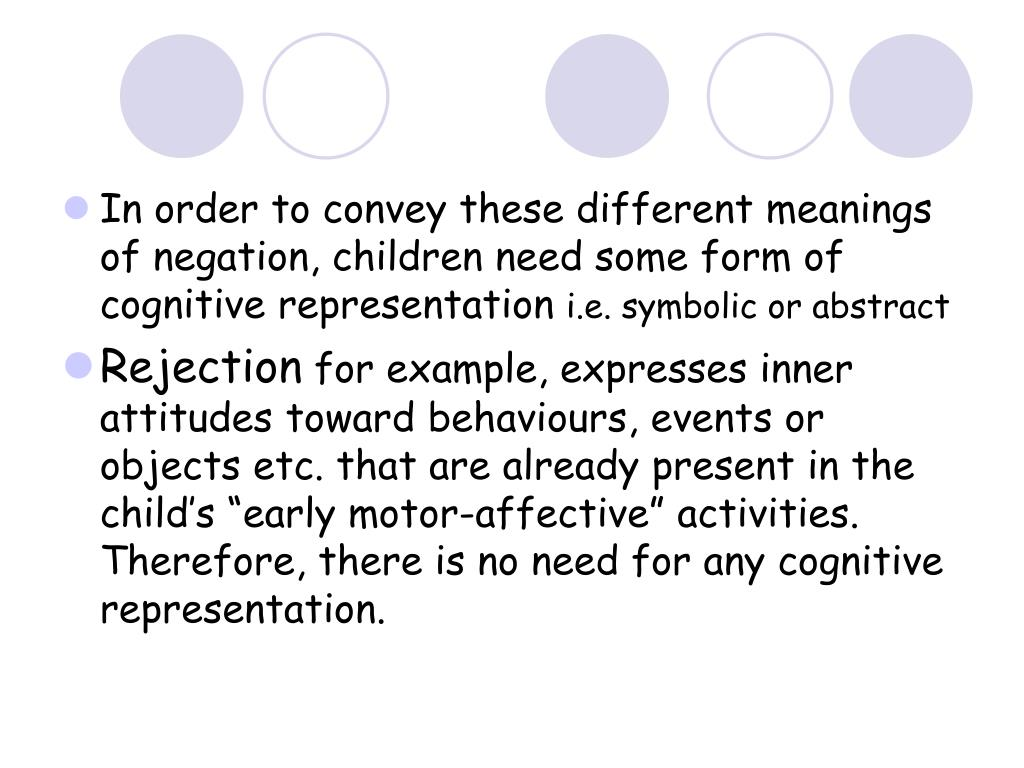 In order to convey these different meanings of negation, children need some form of cognitive representation