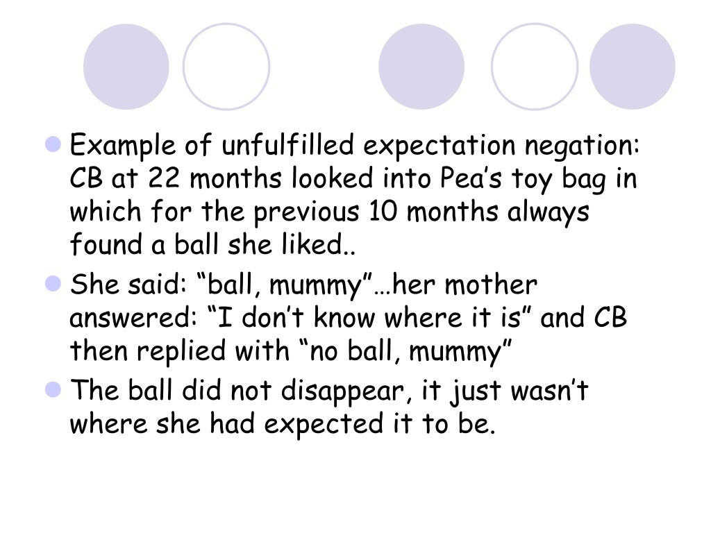 Example of unfulfilled expectation negation: CB at 22 months looked into Pea's toy bag in which for the previous 10 months always found a ball she liked..