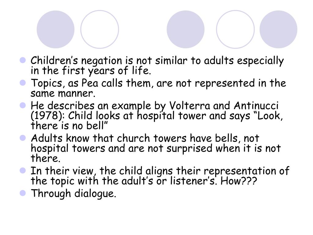Children's negation is not similar to adults especially in the first years of life.