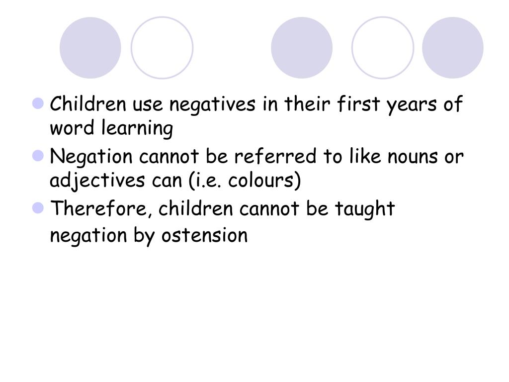 Children use negatives in their first years of word learning