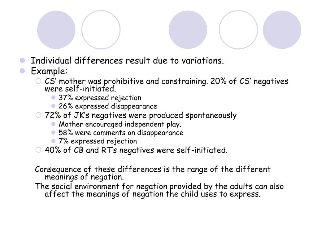 Individual differences result due to variations.