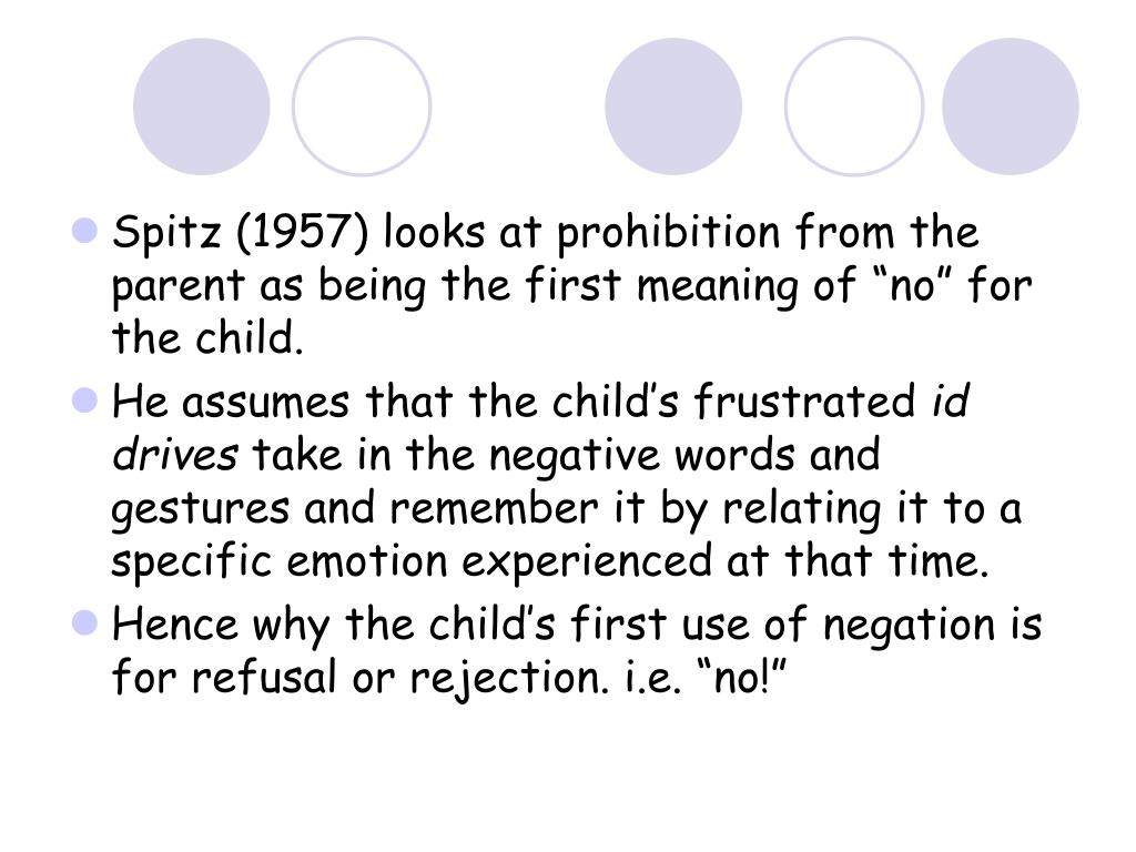 """Spitz (1957) looks at prohibition from the parent as being the first meaning of """"no"""" for the child."""