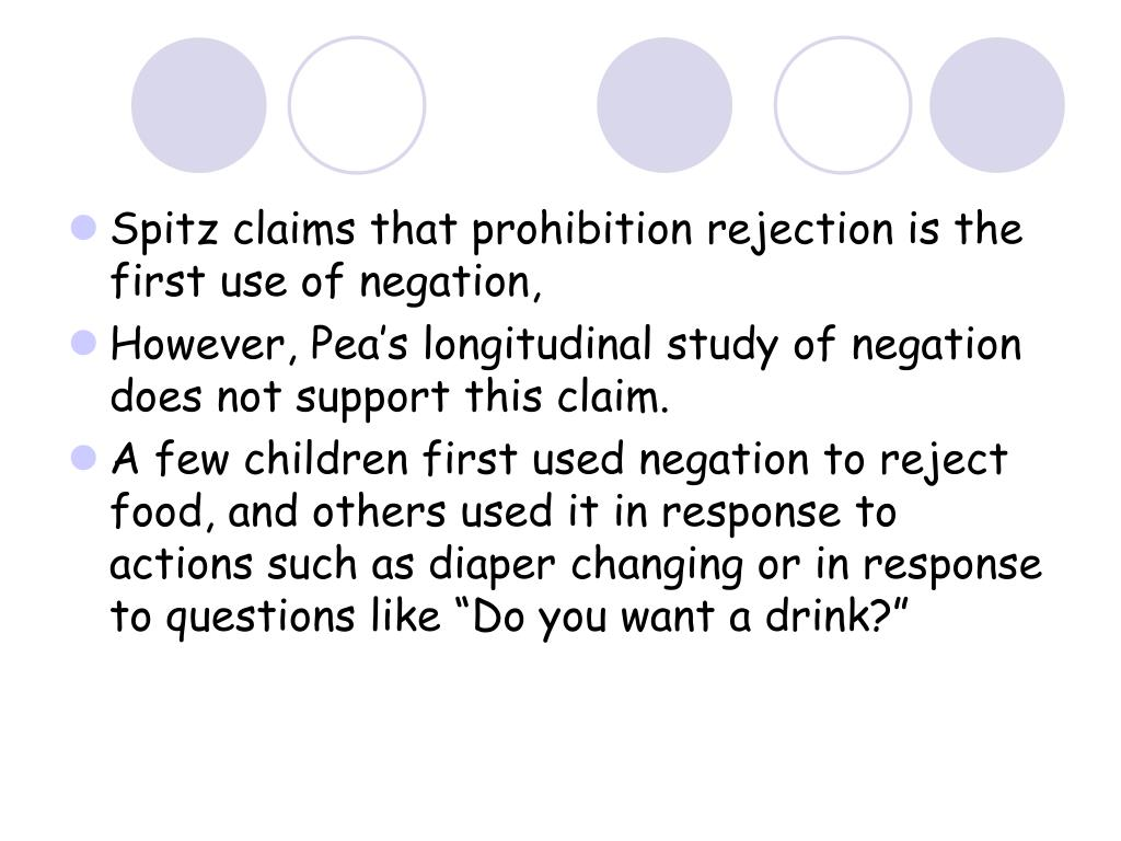 Spitz claims that prohibition rejection is the first use of negation,