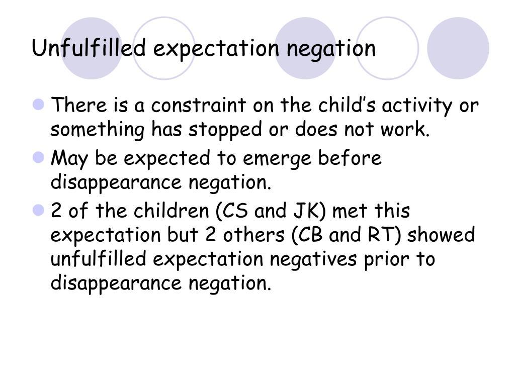 Unfulfilled expectation negation
