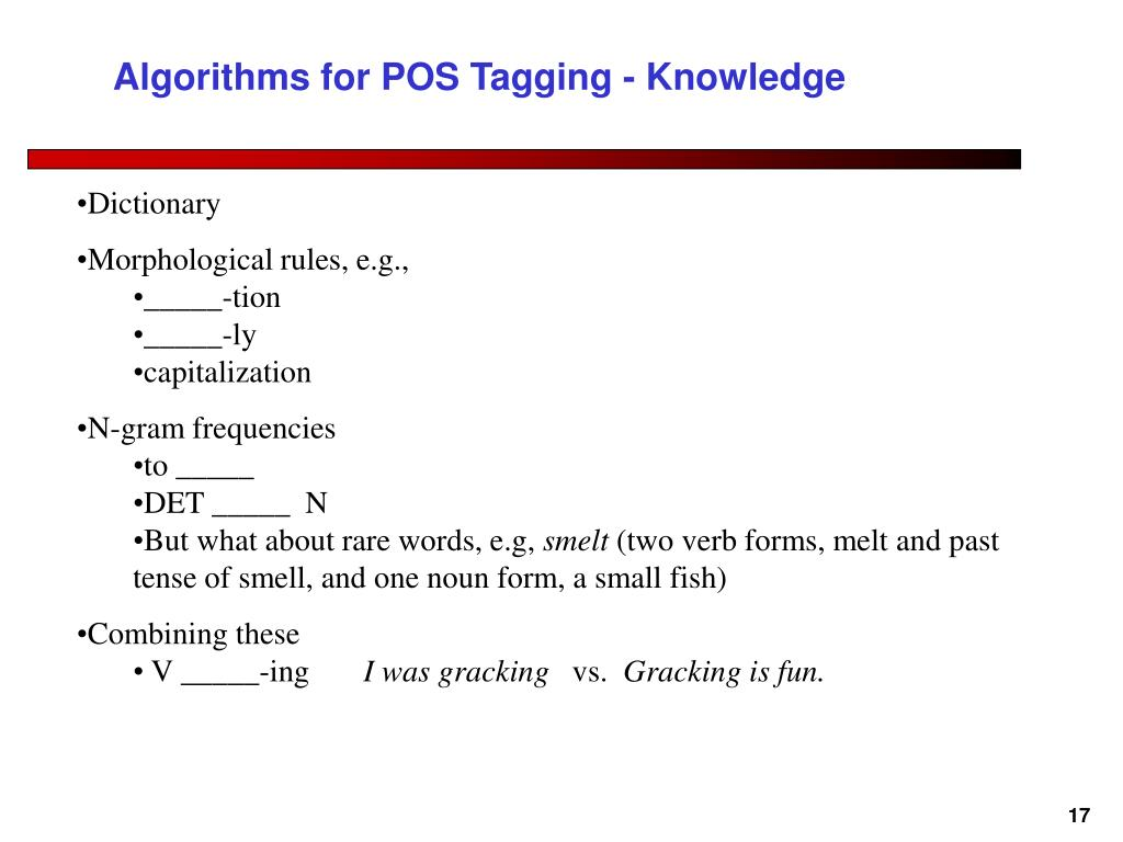 Algorithms for POS Tagging - Knowledge