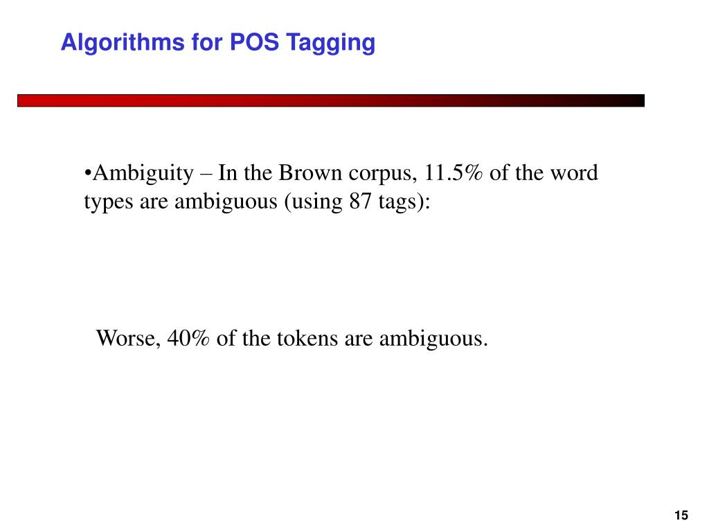 Algorithms for POS Tagging
