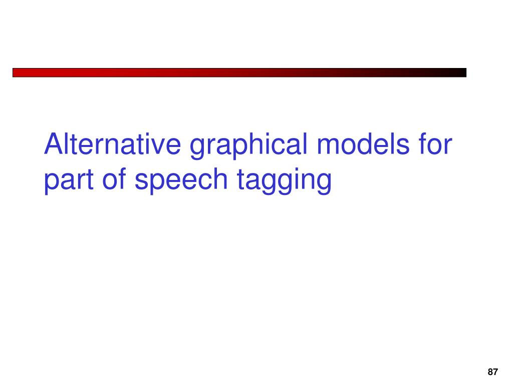 Alternative graphical models for part of speech tagging