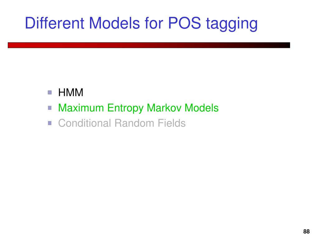 Different Models for POS tagging