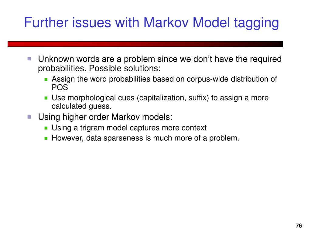 Further issues with Markov Model tagging