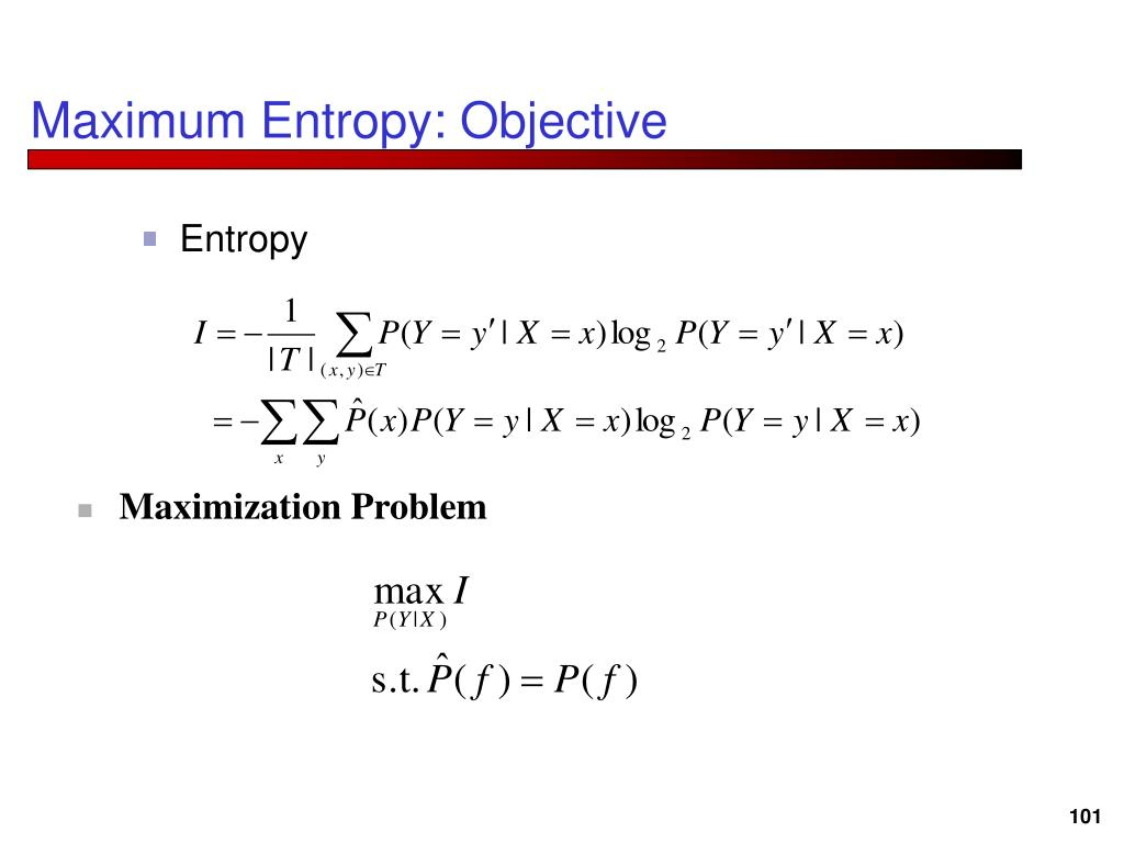 Maximum Entropy: Objective