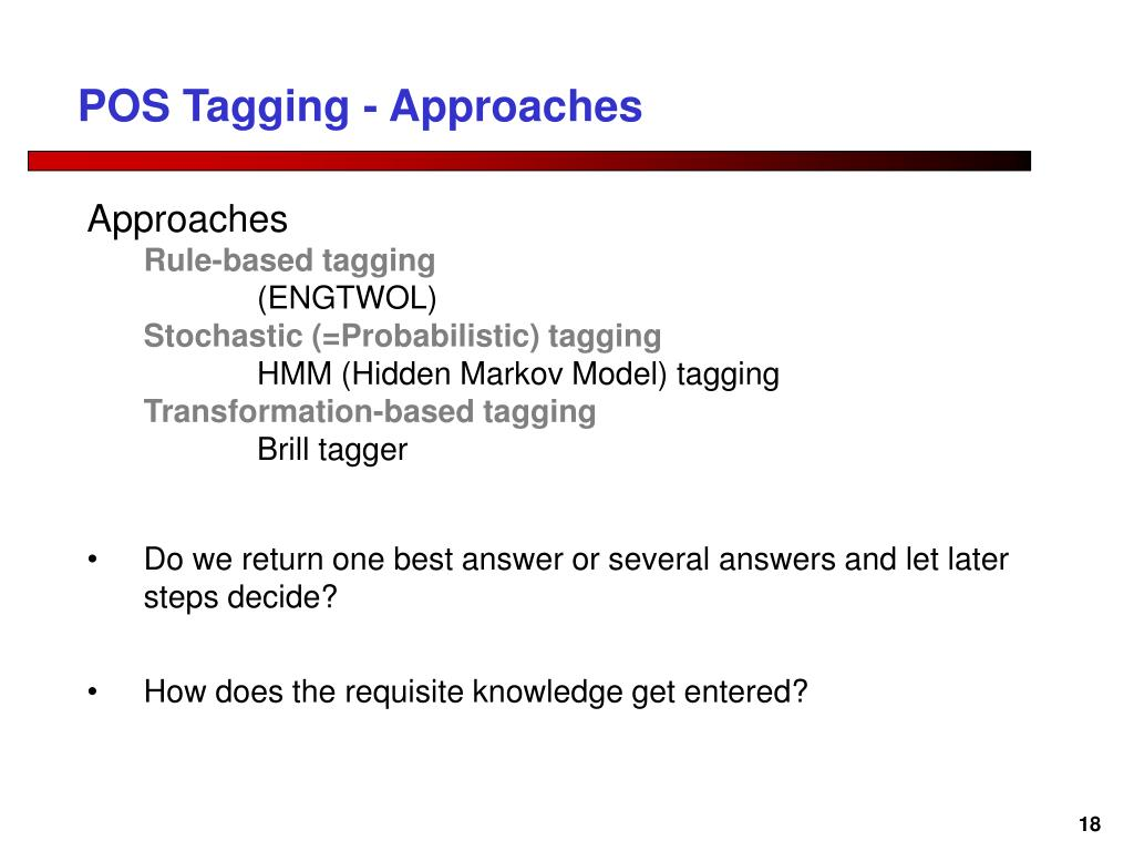 POS Tagging - Approaches