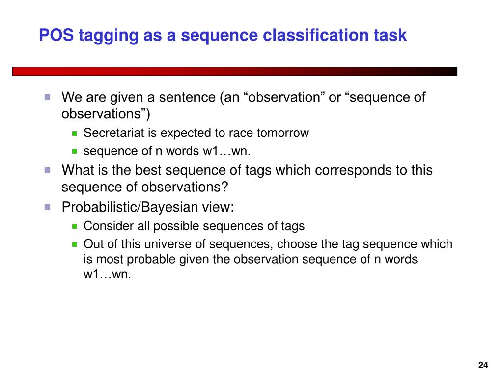 POS tagging as a sequence classification task