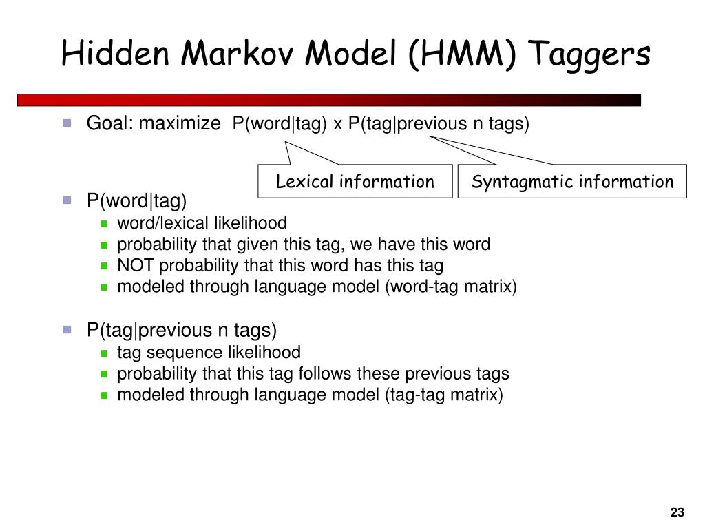 Hidden Markov Model (HMM) Taggers