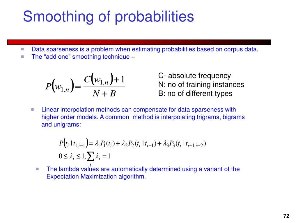 Smoothing of probabilities