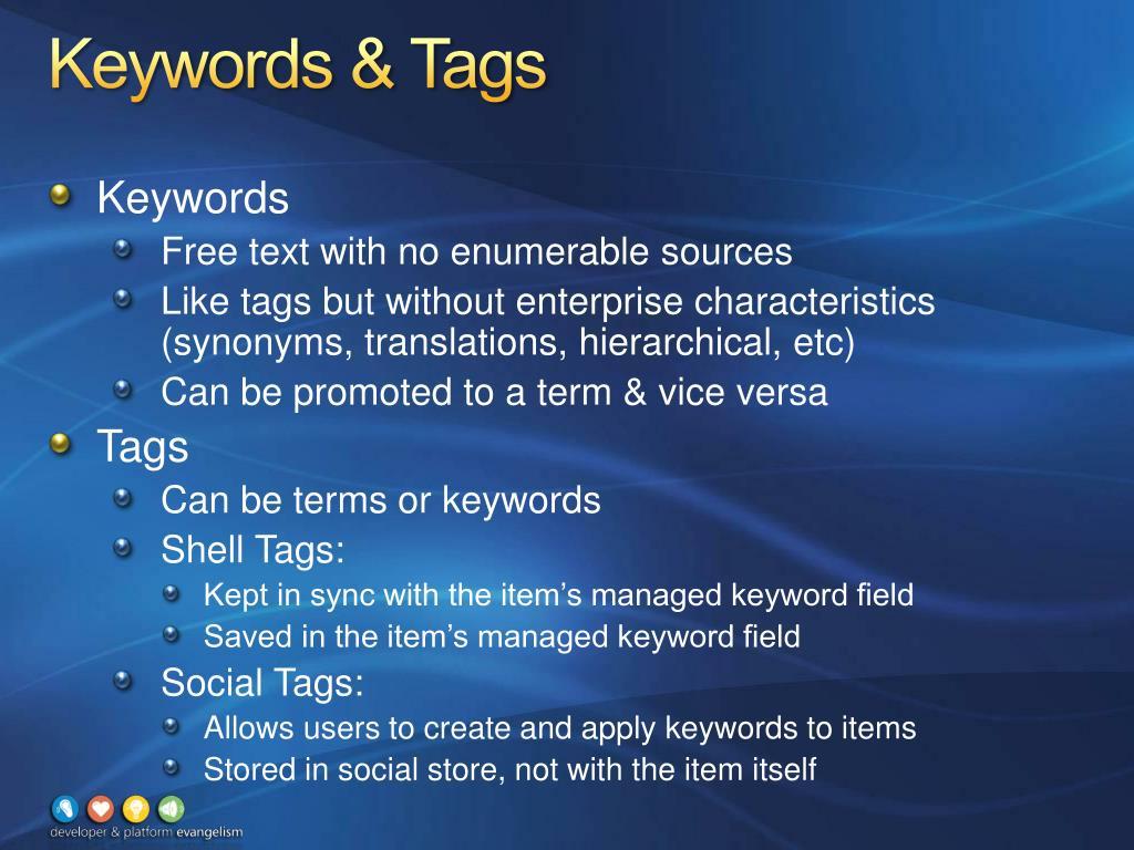 Keywords & Tags