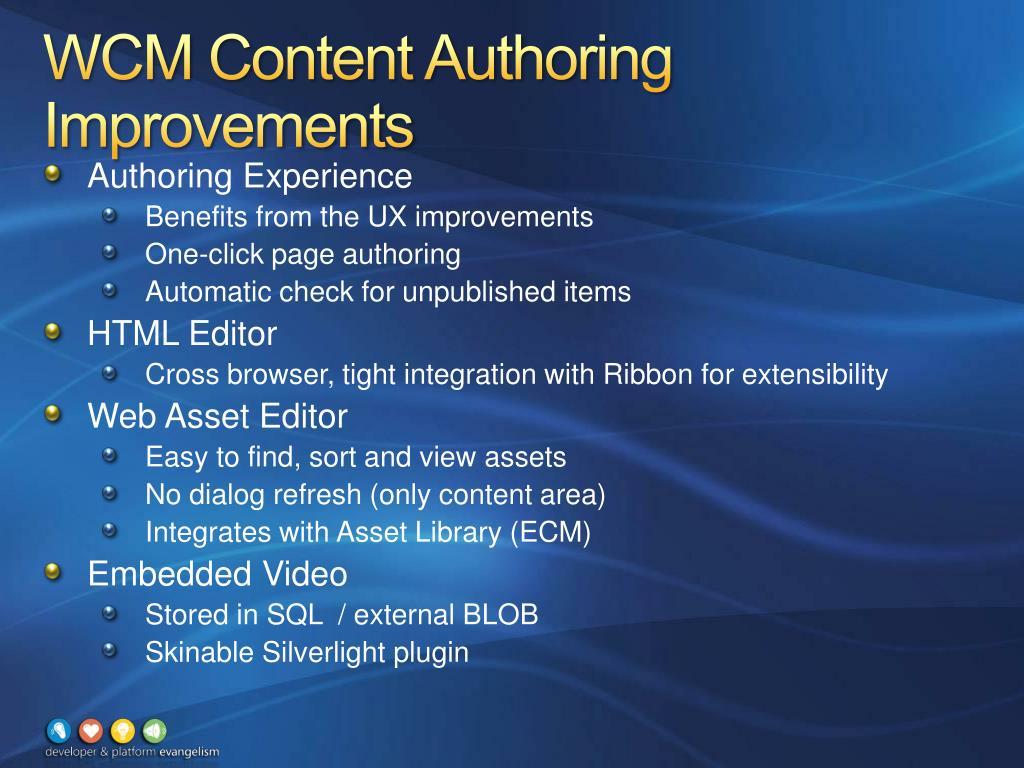 WCM Content Authoring Improvements