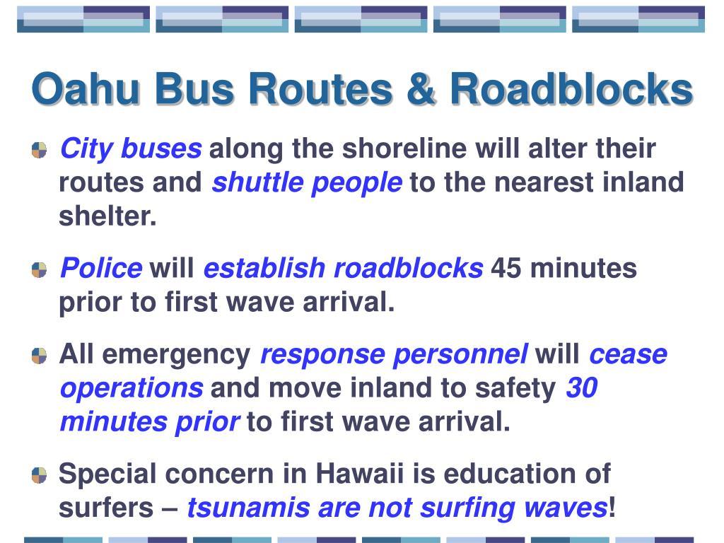Oahu Bus Routes & Roadblocks