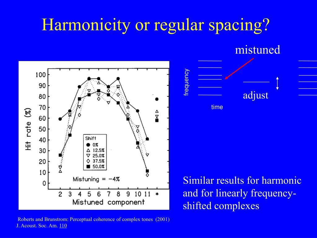 Harmonicity or regular spacing?