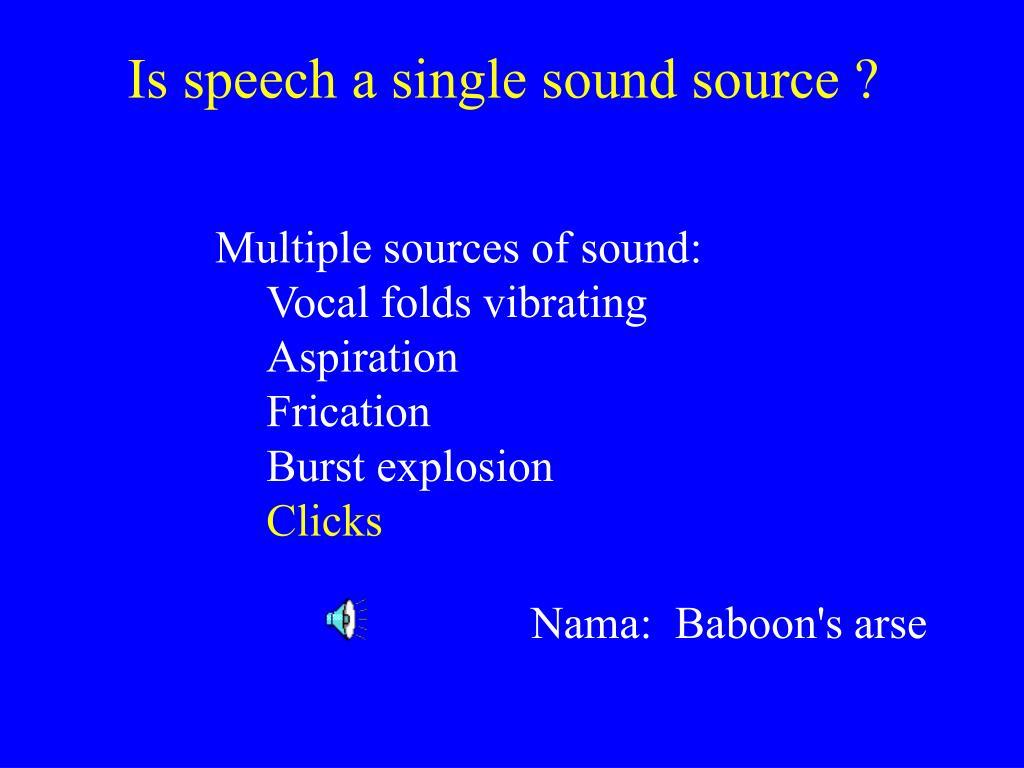 Is speech a single sound source ?