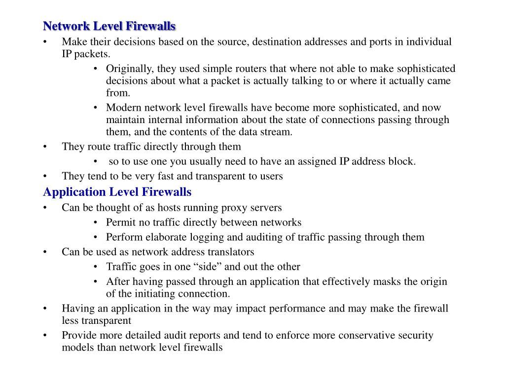 Network Level Firewalls