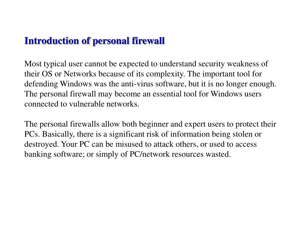 Introduction of personal firewall