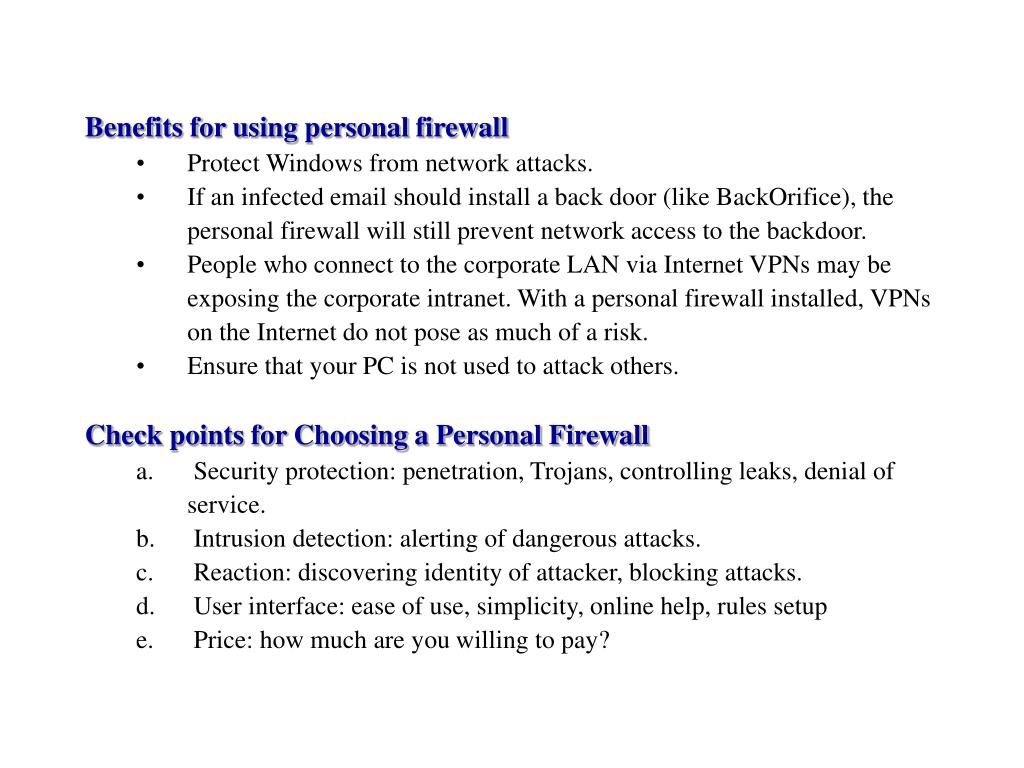 Benefits for using personal firewall