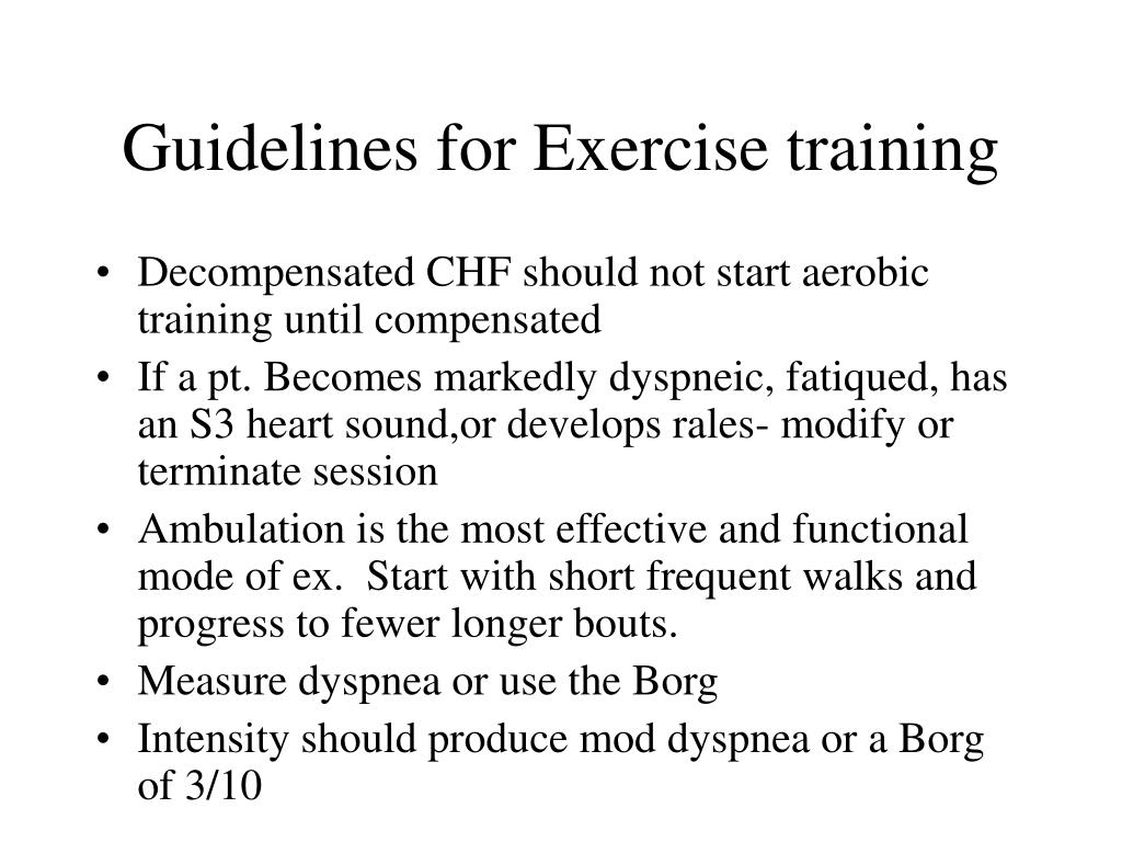 Guidelines for Exercise training
