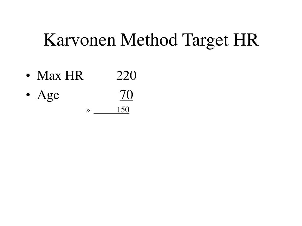 Karvonen Method Target HR